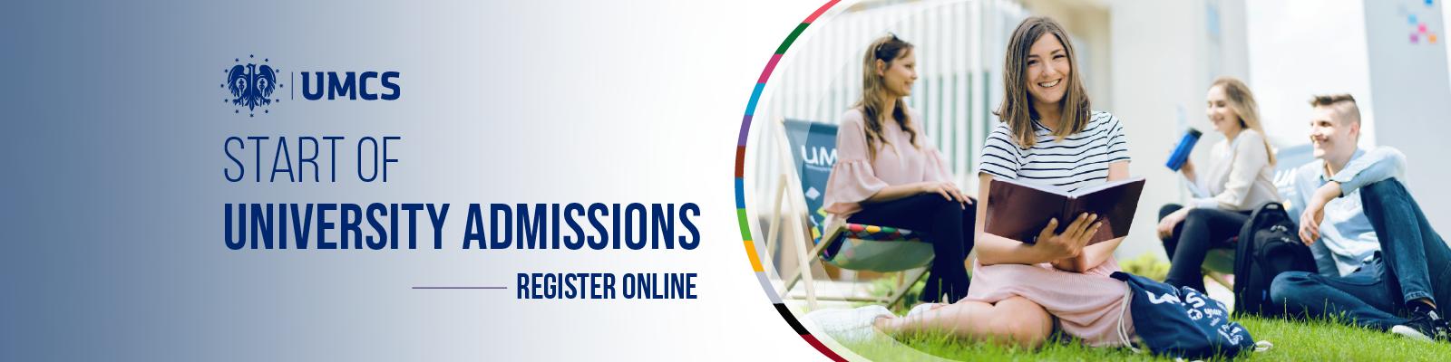 Start of University Admissions - register online!