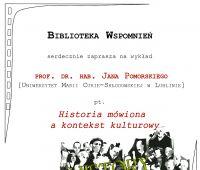 Wykład: Historia mówiona a kontekst kulturowy