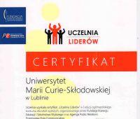 """Certyfikaty """"Uczelnia Liderów"""" dla UMCS"""