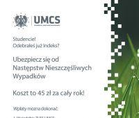 Ubezpieczenie NNW w roku akademickim 2014/2015