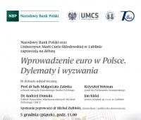 """Debata """"Wprowadzenie euro w Polsce. Dylematy i wyzwania"""""""