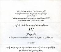 Nagroda Studiów Źródłoznawczych dla Prof. Janusza...