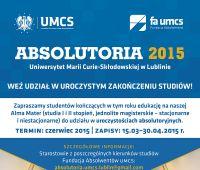 Zapisy na Absolutoria UMCS 2015 - do 8 maja