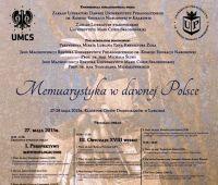 Memuarystyka w dawnej Polsce - konferencja