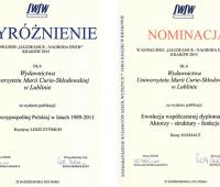 Wyróżnienie dla publikacji Wydawnictwa UMCS