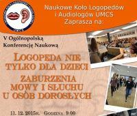 Logopeda nie tylko dla dzieci - konferencja NKLiA UMCS