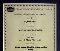 Wyróżnienie dla pracy doktora Michała Wallnera