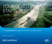 Program Letnich Praktyk w Citi Handlowy i Citi Service...