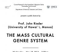 """Wykład prof. Johna Riedera pt. """"The mass cultural..."""