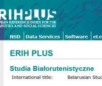 """""""Studia Białorutenistyczne"""" na liście ERIH PLUS"""