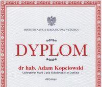 Dr hab. Adam Kopciowski z indywidualną Nagrodą Ministra