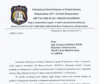 Podziękowania od Ochotniczej Straży Pożarnej w Wojciechowie