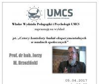 Wykład prof. dr hab. Jerzego Brzezińskiego