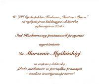 Wyróżnienie dla dr Marzeny Myślińskiej z WPiA