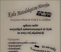 Nabór do Koła Metodologicznego Historyków UMCS