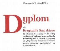 Nagroda dla dr. Krzysztofa Snarskiego w konkursie NCK