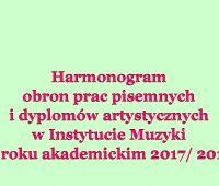 HARMONOGRAM OBRON W INSTYTUCIE MUZYKI 2018