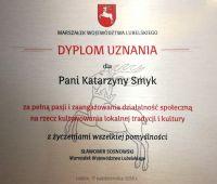 Dyplom Marszałka Województwa Lubelskiego dla prof. K. Smyk