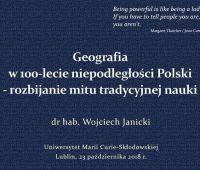 """""""Geografia w 100-lecie niepodległości Polski"""" - wykład"""