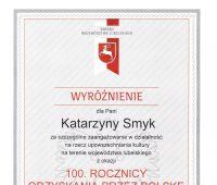 Wyróżnienie prof. K. Smyk za upowszechnianie kultury