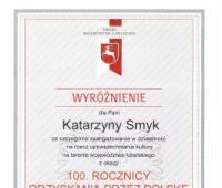 Medal za upowszechnianie kultury dla prof. Katarzyny Smyk