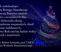 Życzenia świąteczno-noworoczne Dziekana Wydziału...