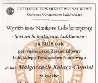 Wyróżnienie dla dr hab. M. Kołacz-Chmiel