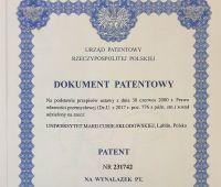 Patent na wynalazek dr. inż. Miłosza Hubera