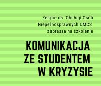 """""""Komunikacja ze studentem w kryzysie"""" - ostatnie miejsca!"""