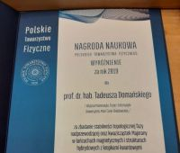 Nagroda Naukowa PTF dla prof. Tadeusza Domańskiego