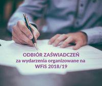 Odbiór zaświadczeń za wydarzenia organizowane na WFiS...