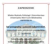 Zaproszenie na bal pożegnalny z Pałacem Lubomirskich