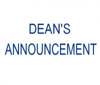 DEAN'S ANNOUNCEMENT OF MARCH 13th, 2020