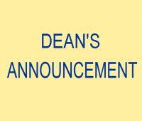DEAN'S ANNOUNCEMENT OF MARCH 21st, 2020
