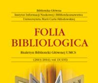 Nabór tekstów do kolejnego tomu Folia Bibliologica 62 (2020)