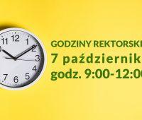 Godziny rektorskie: 7 października (godz. 9:00-12:00)
