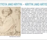 ARTYSTA JAKO KRYTYK - KRYTYK JAKO ARTYSTA