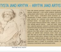 Dr Piotr Majewski: Artysta jako krytyk - krytyk jako artysta