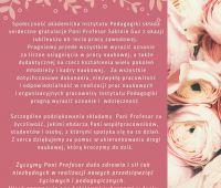 Gratulacje dla Pani Prof. dr hab. Sabiny Guz z okazji...