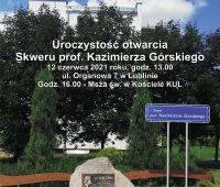 Zaproszenie na uroczystość otwarcia Skweru prof....