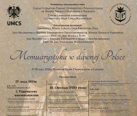"""""""Memuarystyka w dawnej Polsce"""" - konferencja"""
