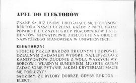 15.05.1981 r. – pierwsze demokratyczne wybory Rektora...