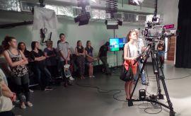 Warsztaty telewizyjno-radiowe w Chatce Żaka. Fot. K.Kociuba