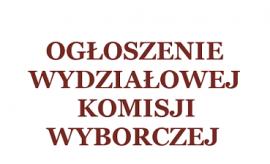 Komunikat Wydziałowej Komisji Wyborczej