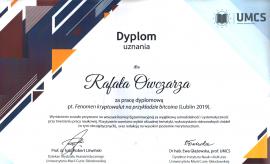 Wyróznienie dla naszego studenta Rafała Owczarza