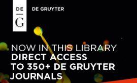 Journals De Gruyter Publishers - dostęp do e-czasopism