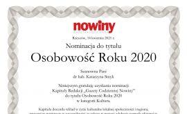 prof.dr hab. Katarzyna Smyk nominowana w plebiscycie na...