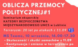 "Seminarium ""Teroryzm 20 lat po atakach z 11.09"""