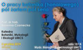 Wykład prof. Bożenny Czarneckiej
