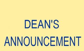 DEAN'S ANNOUNCEMENT OF MARCH 21st, 2020